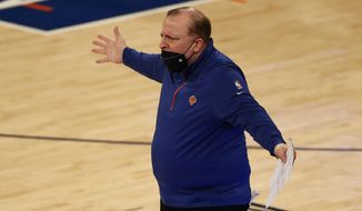 New York Knicks head coach Tom Thibodeau reacts to a call during the first half of an NBA basketball game against the New Orleans Pelicans on Sunday, April 18, 2021, in New York. (AP Photo/Adam Hunger, Pool)