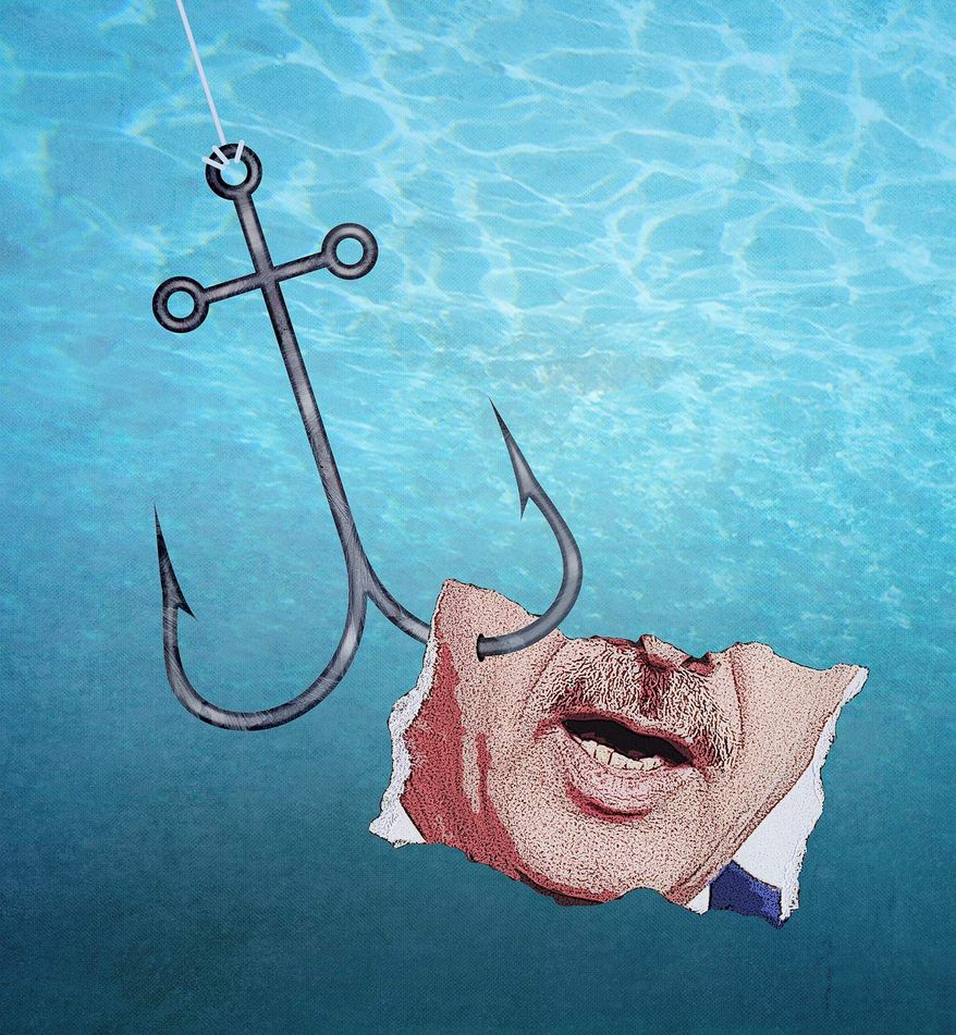 Senate Security Leaks Colin Kahl's Lips Hooked Illustration by Greg Groesch/The Washington Times