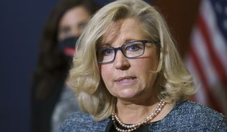 Rep. Liz Cheney, R-Wyo., the House Republican Conference chair, speaks with reporters following a GOP strategy session on Capitol Hill in Washington, Tuesday, April 20, 2021. (AP Photo/J. Scott Applewhite) ** FILE **