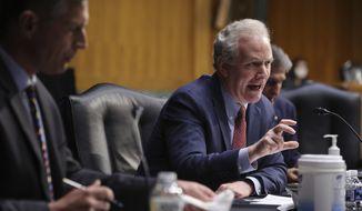 Senate Appropriations Committee member Sen. Chris Van Hollen, D-Md., speaks during a Senate Appropriations Committee hearing on Capitol Hill, Tuesday, April 20, 2021 in Washington. (Chip Somodevilla/Pool via AP) **FILE**