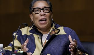 Housing and Urban Development Secretary Marcia Fudge testifies during a Senate Appropriations Committee hearing on Capitol Hill, Tuesday, April 20, 2021, in Washington. (Chip Somodevilla/Pool via AP) **FILE**