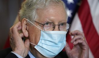 Senate Minority Leader Mitch McConnell, R-Ky., dons his face mask after speaking to reporters after a GOP policy luncheon, on Capitol Hill in Washington, Tuesday, April 20, 2021. (AP Photo/J. Scott Applewhite) **FILE**