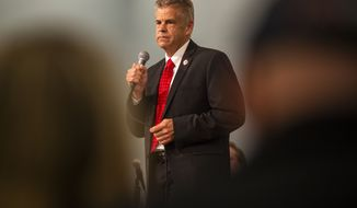 U.S. Rep. Kirk Cox, R-Va., responds to a question during a GOP gubernatorial candidate forum hosted by the College Republicans at Liberty University at Thomas Road Baptist Church in Lynchburg, Va., on Monday, April 19, 2021. Five out of seven candidates were present for the forum. (Kendall Warner/The New & Advance via AP)