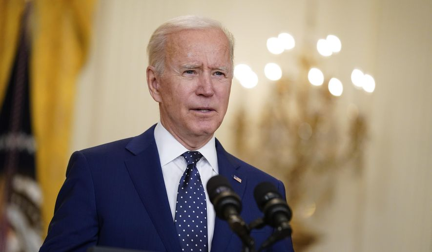 In this April 15, 2021, file photo, President Joe Biden speaks in the East Room of the White House in Washington. (AP Photo/Andrew Harnik, File)