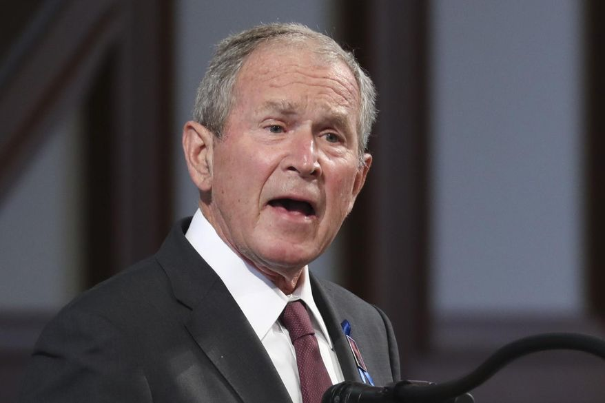 In this July 30, 2020, file photo, former President George W. Bush speaks during the funeral service for the late Rep. John Lewis, D-Ga., at Ebenezer Baptist Church in Atlanta. (Alyssa Pointer/Atlanta Journal-Constitution via AP, Pool) ** FILE **