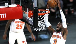 New York Knicks' Nerlens Noel goes to the basket during the second half against the Charlotte Hornets in an NBA basketball game Tuesday, April 20, 2021, in New York. (Sarah Stier/Pool Photo via AP)