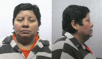 This March 29, 2019 photo provided by the Kendall County Sheriff's Department in Yorkville, Ill., shows Concepcion Malinek. Malinek has pleaded guilty to a federal labor charge for helping several people from Guatemala enter the U.S. and then forbidding them from leaving her home until they paid off their debt to her. The U.S. Attorney's Office says Malinek of Cicero, Ill., pleaded guilty Tuesday, July 28, 2020, to one count of labor trafficking. Prosecutors said she admitted helping 10 Guatemalan immigrants with illegally entering the U.S. from 2009 to 2019. (Kendall County Sheriff's Department via AP)