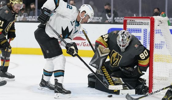 San Jose Sharks center Patrick Marleau (12) attempts a shot on Vegas Golden Knights goaltender Robin Lehner (90) during the third period of an NHL hockey game Monday, April 19, 2021, in Las Vegas. (AP Photo/John Locher) **FILE**