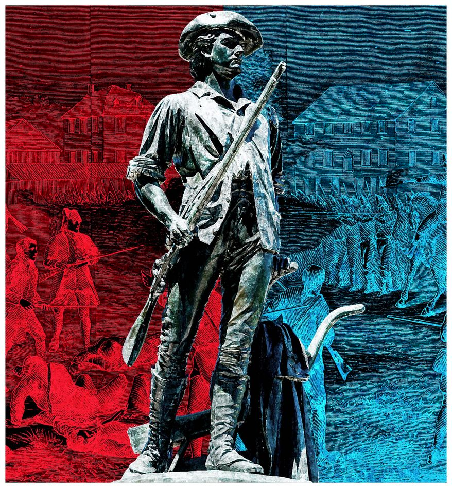 Illustration on remembering Lexington and Concord by Alexander Hunter/The Washington Times