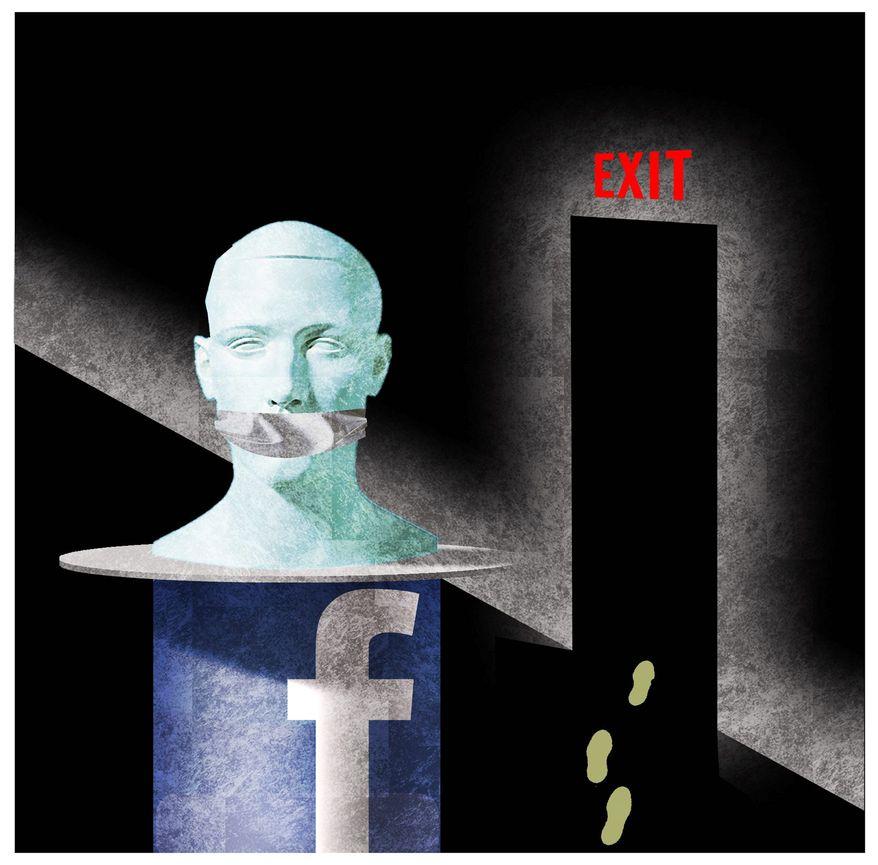 Illustration on social media platforms and free speech by Alexander Hunter/The Washington Times