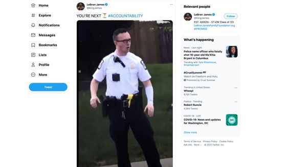 """Basketball player LeBron James sent the following message to the officer at the center of the Ma'Khia Bryant shooting in Columbus, Ohio: """"You're next."""" (Image: Twitter, LeBron James, full-tweet screenshot)"""