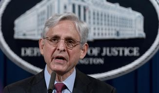 Attorney General Merrick Garland speaks about a jury's verdict in the case against former Minneapolis Police Officer Derek Chauvin in the death of George Floyd, at the Department of Justice, Wednesday, April 21, 2021, in Washington. (AP Photo/Andrew Harnik, Pool) **FILE**