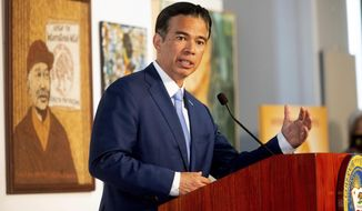 FILE - In this March 24, 2021, file photo, California Assemblyman Rob Bonta speaks during a news conference shortly after California Gov. Gavin Newsom announced his nomination for state's attorney general in San Francisco. California's nominee for state attorney general on Wednesday, April 21, 2021, promised to hold police accountable for misconduct, as lawmakers offered veiled criticism of his predecessor who is now in the Biden administration. (AP Photo/Noah Berger, File)