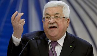FILE - In this Jan. 22, 2020 file photo, Palestinian President Mahmoud Abbas speaks after a meeting of the Palestinian leadership in the West Bank city of Ramallah.  Facebook says it has broken up a hacker network linked to Palestinian President Mahmoud Abbas' intelligence service, Wednesday, April 21, 2021. It says the network targeted hundreds of people, including journalists, human rights activists and government critics. (AP Photo/Majdi Mohammed, File)