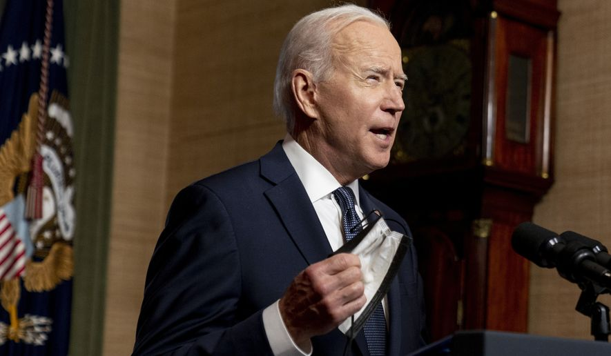 In this April 14, 2021 file photo, President Joe Biden speaks from the Treaty Room in the White House about the withdrawal of the remainder of U.S. troops from Afghanistan. A U.S. defense department official said Thursday April 22, 2021, that the U.S. military has begun shipping equipment and winding down contracts with local service providers ahead of the May 1 start of the final phase of its military pullout from Afghanistan. The pullout marks the end of Americas longest war, after a 20-year military engagement. (AP Photo/Andrew Harnik, Pool, File)