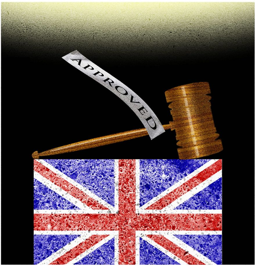 Illustration on U.S. Supreme Court versus the British courts appointment system by Alexander Hunter/The Washington Times