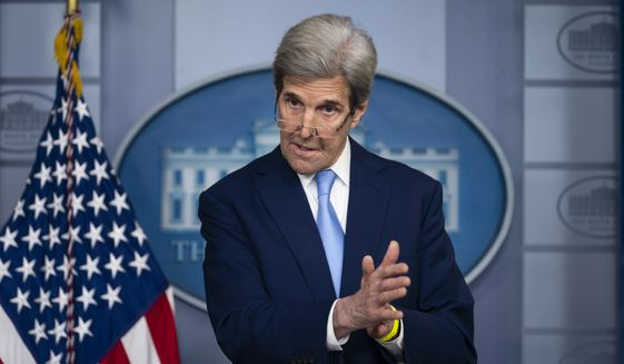 Special Presidential Envoy for Climate John Kerry speaks during a press briefing at the White House, Thursday, April 22, 2021, in Washington. (AP Photo/Evan Vucci) ** FILE **