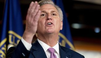 House Minority Leader Kevin McCarthy of California speaks during his weekly press briefing on Capitol Hill in Washington on Thursday, April 22, 2021. (AP Photo/Andrew Harnik) **FILE**