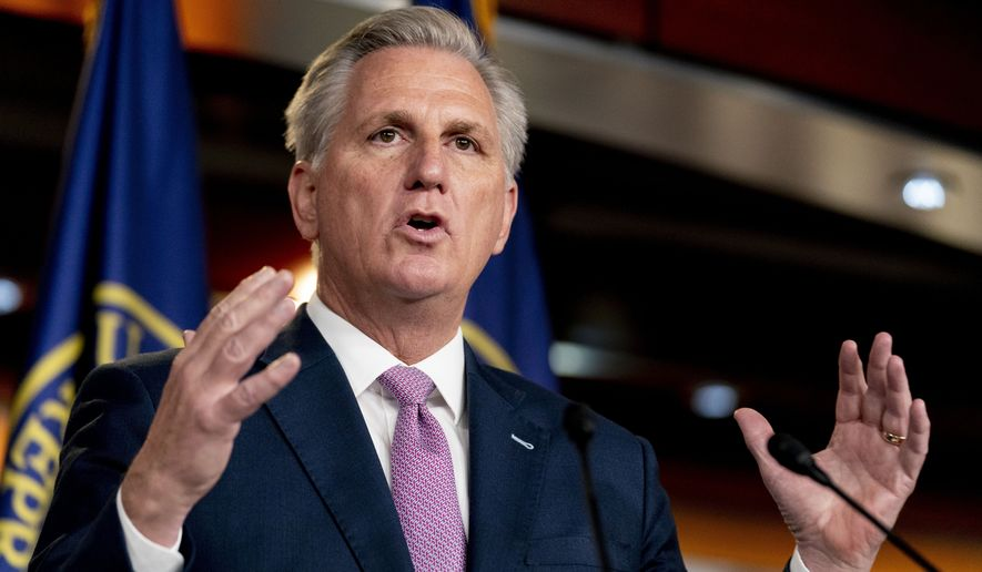 House Minority Leader Kevin McCarthy of Calif., speaks during his weekly press briefing on Capitol Hill, Thursday, April 22, 2021, in Washington. (AP Photo/Andrew Harnik) ** FILE **