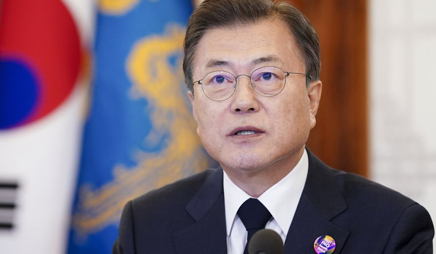 South Korean President Moon Jae-in speaks during the virtual Leaders Summit on Climate, at the presidential Blue House in Seoul, South Korea, Thursday, April 22, 2021. (Lee Jin-wook/Yonhap via AP)