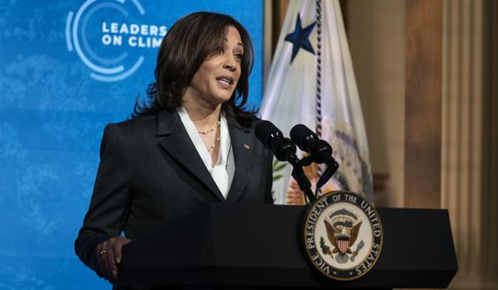 Vice President Kamala Harris speaks to the virtual Leaders Summit on Climate, from the East Room of the White House, Thursday, April 22, 2021, in Washington. (AP Photo/Evan Vucci)