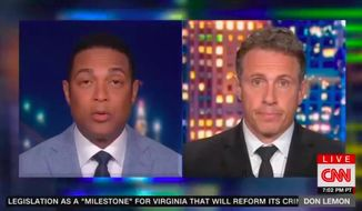 "CNN anchors Don Lemon and Chris Cuomo came to the defense of the Columbus, Ohio, police officer who fatally shot 16-year-old Ma'Khia Bryant this week, saying the officer had a ""duty"" to protect any potential victims from the knife-wielding teen. (Screengrab via CNN)"