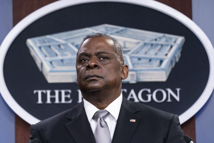 Secretary of Defense Lloyd Austin listens to a question as he speaks during a media briefing at the Pentagon in Washington, in this Friday, Feb. 19, 2021, photo. (AP Photo/Alex Brandon) **FILE**