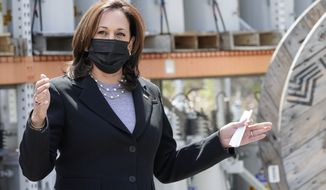 Vice President Kamala Harris speaks as she tours the New Hampshire Electric Co-Op (NHEC), in Plymouth, N.H., Friday, April 23, 2021. (AP Photo/Jacquelyn Martin)