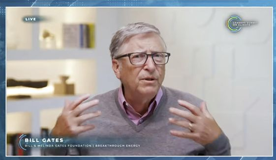 In this image from video, Bill Gates speaks during the White House Climate Leaders Summit, Friday, April 23, 2021. (AP Photo) ** FILE **