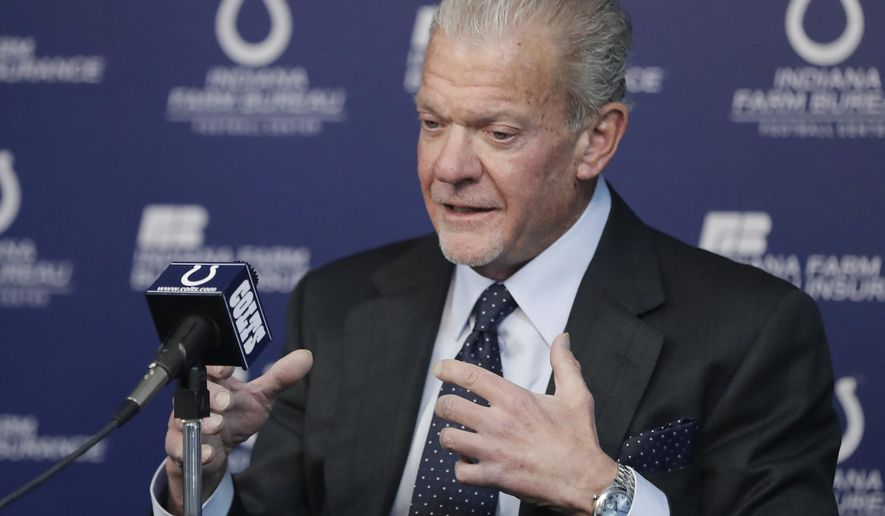 FILE - Indianapolis Colts owner Jim Irsay responds to a question during a news conference at the NFL team's facility in Indianapolis, in this Monday, Jan. 1, 2018, file photo. With his team facing major holes at left tackle and edge rusher heading into next week's NFL draft, Irsay hopes to fill one need with the No. 21 overall pick and the other over the final six rounds. (AP Photo/Darron Cummings, File)