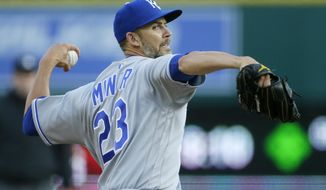 Kansas City Royals starting pitcher Mike Minor (23) delivers against the Detroit Tigers during the first inning of a baseball game Friday, April 23, 2021, in Detroit. (AP Photo/Duane Burleson)