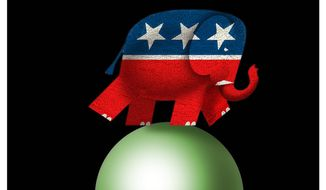 Illustration on the GOP's sudden concern with climate change by Alexander Hunter/The Washington Times