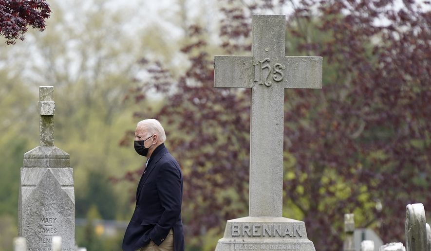 President Joe Biden departs after attending Mass at St. Joseph on the Brandywine Catholic Church, Saturday, April 24, 2021, in Wilmington, Del. Biden is spending the weekend at his home in Delaware. (AP Photo/Patrick Semansky)