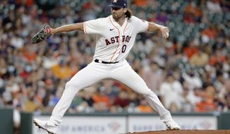 Houston Astros substitute pitcher Kent Emanuel, coming in for injured Jake Odorizzi, throws against the Los Angeles Angels during the first inning of a baseball game Saturday, April 24, 2021, in Houston. (AP Photo/Michael Wyke)