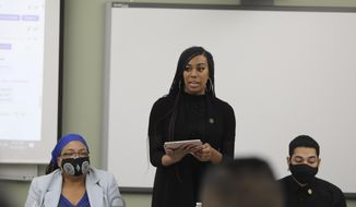 Shawnica Sanders, the president of Black Scholars United, speaks during a meeting on Thursday, April 22, 2021, at Weber State University in Ogden, Utah. The meeting was organized by a movement called Black at Weber, which is meant to counteract racial injustices Black students experience at the university. (Emily Anderson/Standard-Examiner via AP)