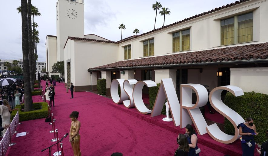 Andra Day is interviewed on the red carpet at the Oscars on Sunday, April 25, 2021, at Union Station in Los Angeles. (AP Photo/Mark Terrill, Pool)