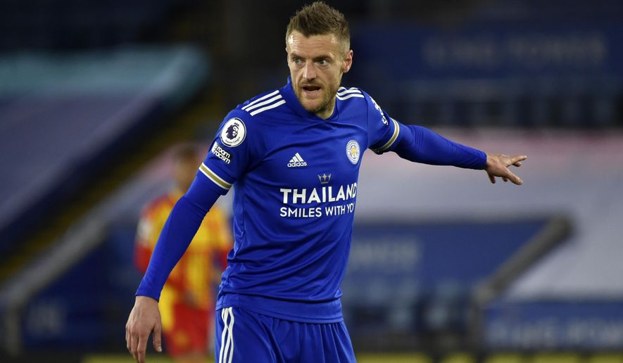 Leicester's Jamie Vardy reacts during the English Premier League soccer match between Leicester City and West Bromwich Albion at the King Power Stadium in Leicester, England, Thursday, April 22, 2021. (AP Photo/Rui Vieira,Pool)
