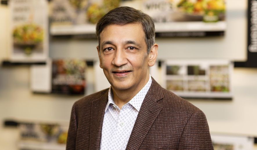 This photo provided by Panera Bread shows Niren Chaudhary, CEO Panera Bread. Panera Bread Co. thought its coffee subscription plan was going to be one of its biggest changes in 2020. But a month after the service launched, the coronavirus struck.  Chaudhary watched half of Panera's sales evaporate within a week and said it was a frightening but invigorating time, with no playbook to follow. A year later, Panera is profitable again.   (Jason Grow/Panera Bread via AP)