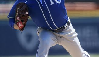 Kansas City Royals' Danny Duffy pitches against the Detroit Tigers during the second inning of a baseball game Sunday, April 25, 2021, in Detroit. (AP Photo/Duane Burleson)