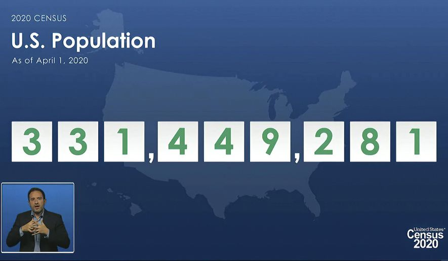 In this image from video provided by the U.S. Census Bureau, acting director of the U.S. Census Bureau Ron Jarmin speaks as a graphic showing the U.S. population as of April 1, 2020, is displayed during a virtual news conference Monday, April 26, 2021. The Census Bureau is releasing the first data from its 2020 headcount. (U.S. Census Bureau via AP)