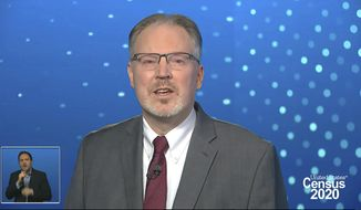 In this image from video provided by the U.S. Census Bureau, acting director of the U.S. Census Bureau Ron Jarmin speaks during a virtual news conference Monday, April 26, 2021. The Census Bureau is releasing the first data from its 2020 headcount. (U.S. Census Bureau via AP)