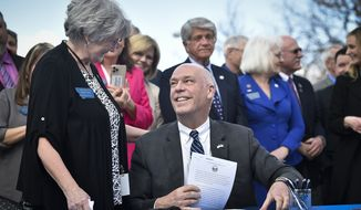 Republican Gov. Greg Gianforte signed a bill Monday carried by Rep. Sharon Greef, R-Florence, to require informed consent before a medication-induced abortion. (Thom Bridge/Independent Record via AP)