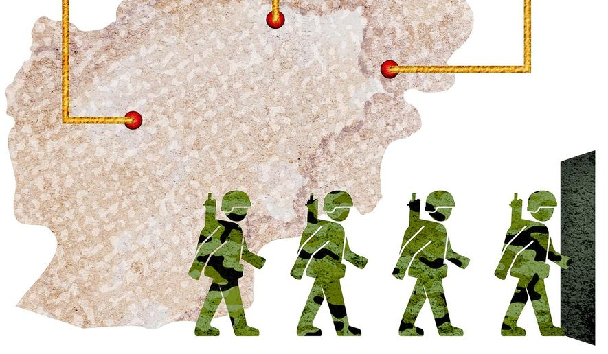 Afghanistan Contractor Option Illustration by Greg Groesch/The Washington Times