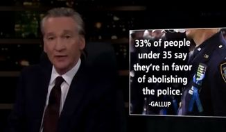 """HBO """"Real Time"""" host Bill Maher blasts pro-communism millennials and their """"gullible"""" peers who support the abolishment of all police departments, April 23, 2021. (Image: HBO, """"Real Time with Bill Maher"""" video screenshot)"""