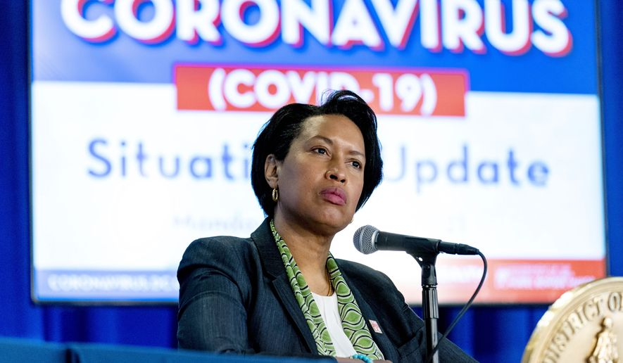 In this March 15, 2021, file photo, Washington Mayor Muriel Bowser takes a question during a coronavirus update at a news conference in Washington. (AP Photo/Andrew Harnik) ** FILE **