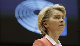 European Commission President Ursula von der Leyen speaks during a debate in the plenary at the European Parliament in Brussels, Monday, April 26, 2021. European Council President Charles Michel and European Commission President Ursula von der Leyen were reporting back to the parliament on Monday regarding their meeting with President Recep Tayyip Erdogan earlier this month aimed at improving strained EU-Turkey relations. (AP Photo/Olivier Matthys, Pool)