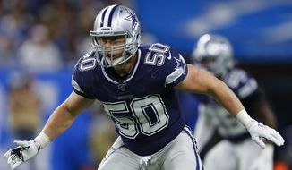 """FILE - Dallas Cowboys outside linebacker Sean Lee plays against the Detroit Lions during an NFL football game in Detroit, in this Sunday, Nov. 17, 2019, file photo. Sean Lee retired Monday, April 26, 2021, after the linebacker spent all of his 11 mostly injury-plagued seasons with the Dallas Cowboys. The 34-year-old said in a letter released by the club that it was """"my time to walk away.""""(AP Photo/Paul Sancya, File)"""