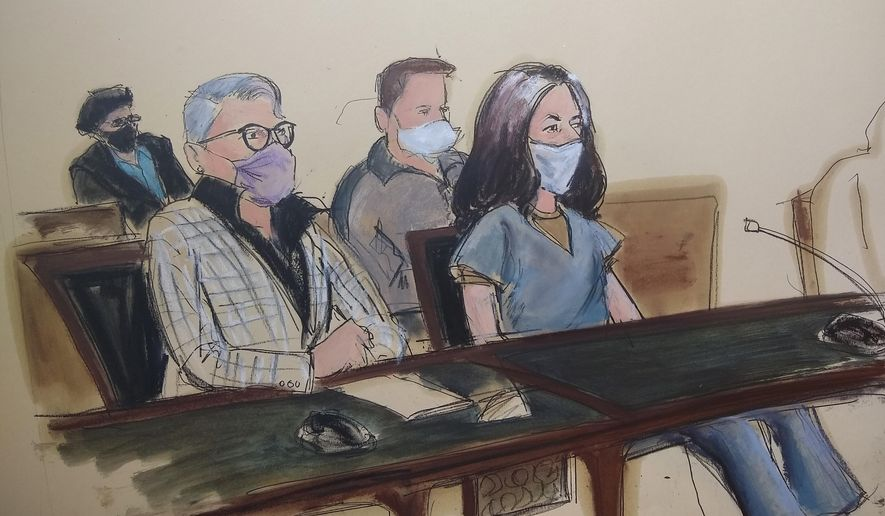 In this courtroom sketch, Ghislaine Maxwell, far right, appears in Manhattan Federal court seated next to her attorney Bobbi C. Sternheim, second from left, along with her sister Isabel Maxwell, far left, during her arraignment on a superceding indictment, Friday, April 23, 2021, in New York. Maxwell, a British socialite and one-time girlfriend of Epstein, pleaded not guilty to sex trafficking conspiracy and an additional sex trafficking charge that were added in a rewritten indictment released last month by a Manhattan federal court grand jury. The new indictment stretched the timespan of the charges from three years to a decade. (AP Photo/Elizabeth Williams)