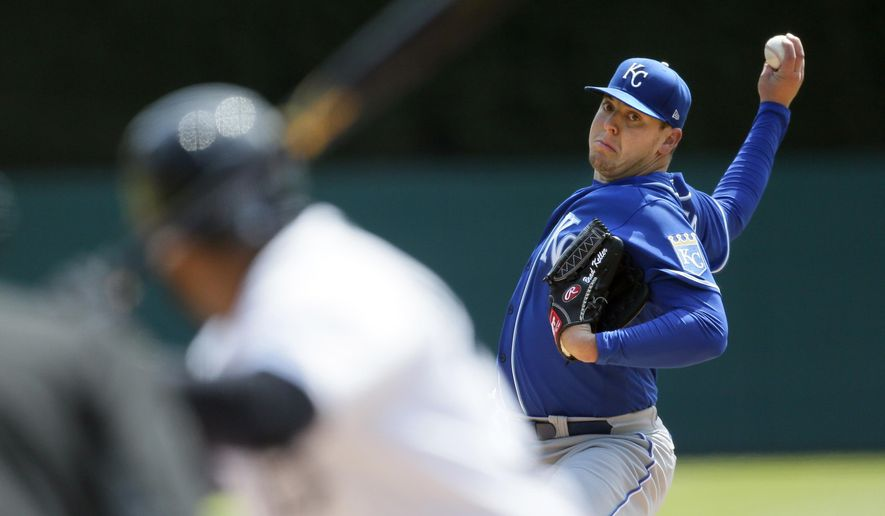 Kansas City Royals' Brad Keller pitches against the Detroit Tigers during the first inning of a baseball game Monday, April 26, 2021, in Detroit. (AP Photo/Duane Burleson)