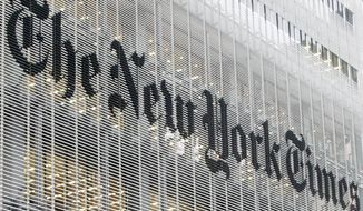 "The New York Times has announced a distinct editorial change in its opinion section. ""Op-ed"" is out and ""Guest Essay"" is in. (Associated Press)"